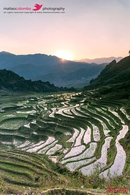 Vietnam, Sapa. Sunrise over rice paddies
