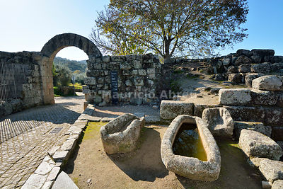 The roman, medieval walls and stone tombs in the historic village of Idanha a Velha. Portugal