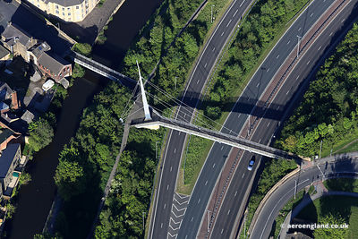 aerial photograph of the Britannia Footbridge crossing the Dual Carriageway  in Bingley Yorkshire