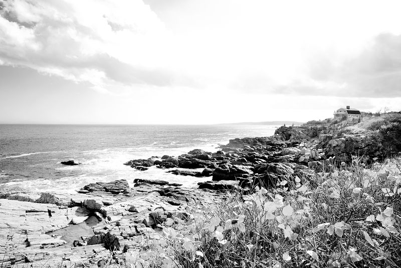 PORTLAND MAINE COAST BLACK AND WHITE