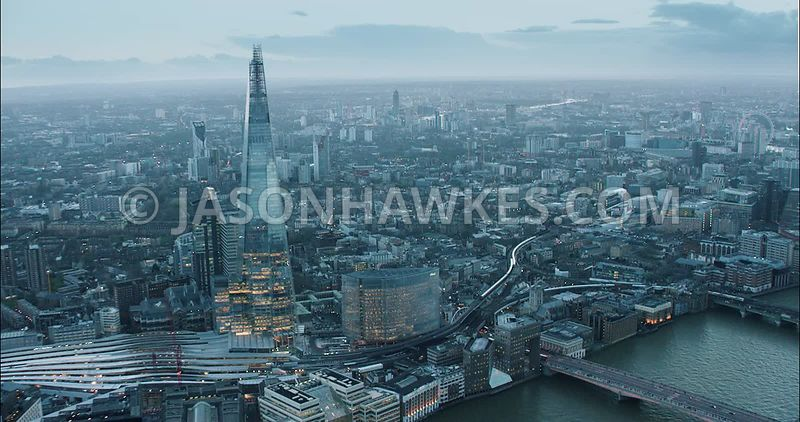 London Aerial Footage of River Thames London Bridge to Blackfriars Bridge.