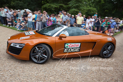 Le Mans winner Allan McNish in an Audi R8 Spyder at the Wilton Classic and Supercar 2013 - Wilton House, Salisbury, Wiltshire, United Kingdom (4th August 2013)