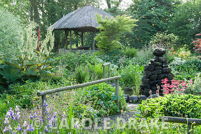 African inspired thatched hut surrounded by moisture loving plants including candelabra primulas, aruncus, irises, rodgersias and astilbes. Westonbury Mill Water Garden, Pembridge, Herefordshire, UK