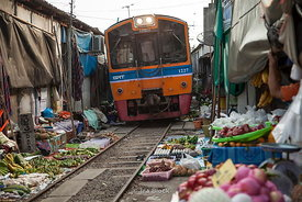 Railway market called Maeklong Market in the Thai province of Samut Songkhram, about 70 kilometers southwest of Bangkok.