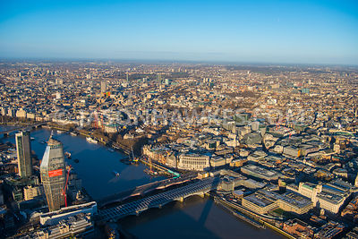 Aerial view of London 1 Blackfriars towards Temple with Unilever House.