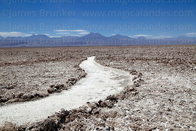 Footpath and rock salt formations on surface of Salar de Atacama, Los Flamencos National Reserve, Chile