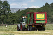 Making silage crop in the Yorkshire Dales with a Strautmann Forage Wagon being pulled by a Fendt tractor. UK.