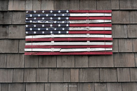 An American flag painted on a building Amagansett, New York.