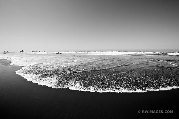 TIDE AT RUBY BEACH OLYMPIC NATIONAL PARK WASHINGTON BLACK AND WHITE
