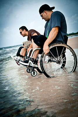 Wheelchair in the sand