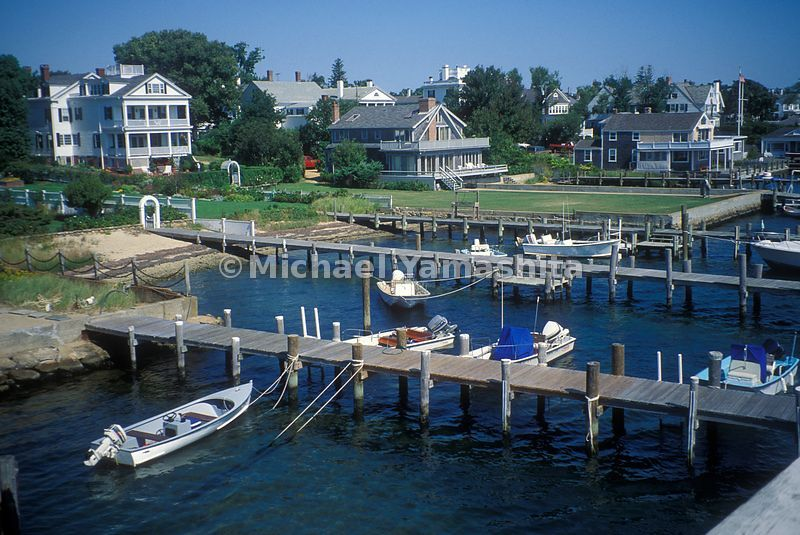 A view of the docks and boats at Martha's Vineyard.