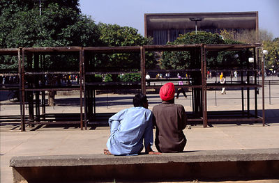 India - Chandigarh - Two friends in a pedestrainised zone