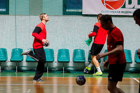Players of Telekom Veszprem during the Final Tournament - Final Four - SEHA - Gazprom league,Team training in Brest, Belarus, 08.04.2017, Mandatory Credit ©SEHA/ Stanko Gruden