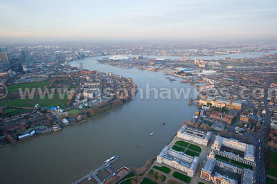 Aerial view over Isle of Dogs and O2 Arena, London