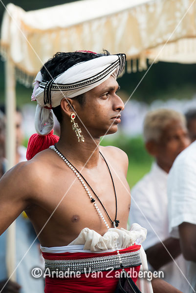 Traditional drummer, Il Full moon Poya festival, Weligama, Sri Lanka
