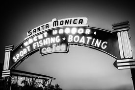 Santa Monica Pier Sign Black and White Photo