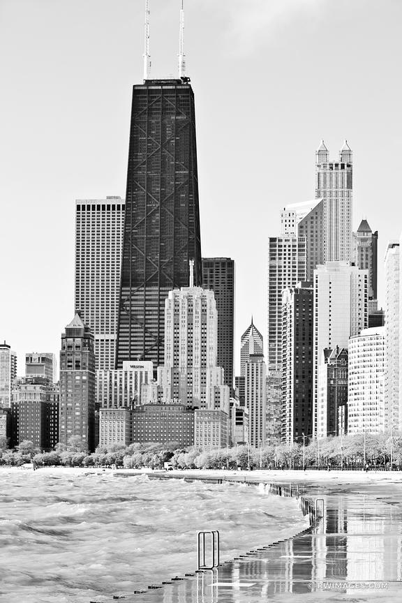 CHICAGO ILLINOIS NORTH LOOP SKYLINE BLACK AND WHITE VERTICAL