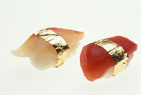 .A fad that arose in Japan during the booming economy of the 1980s — gold-leaf sushi — became an over-priced speciality of some restaurants. Since gold is inert, in these quantities it has no biological effect on the human body, good or bad..