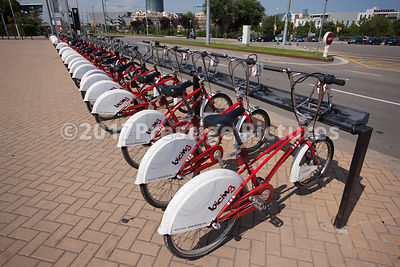 Line of Hire Bikes in Barcelona