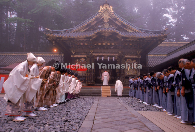 Participants in this Shinto ceremony at Nikko wear a variety of traditional costumes denoting specific function and status.