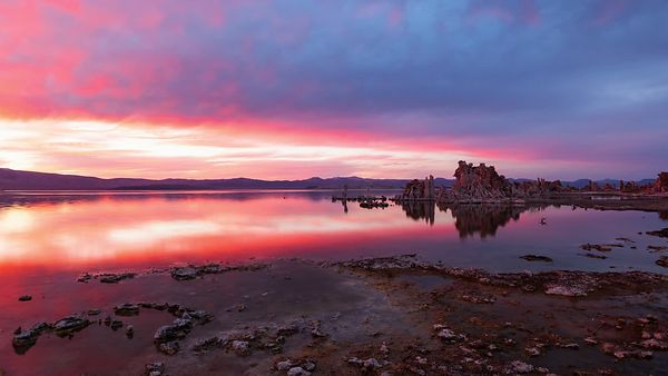 Medium Shot: Fiery Sky Over Mono Lake