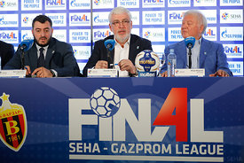 Boris Sapozhnikov, Alexander Meshkov and Mihajlo Mihajlovski during the Final Tournament - Closing press conference - Final Four - SEHA - Gazprom league, Skopje, 15.04.2018, Mandatory Credit ©SEHA/ Stanko Gruden