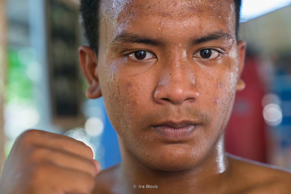 A portrait of a kickboxer at the Thaling Ngam Mauythai boxing gym, Thailand.