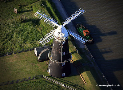 aerial photograph of Berney Arms Windmill  Norfolk.