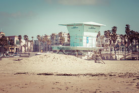 Huntington Beach Lifeguard Tower #5 Retro Picture