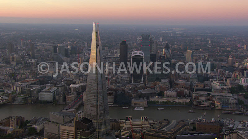 Aerial view of the Shard and City of London at dusk