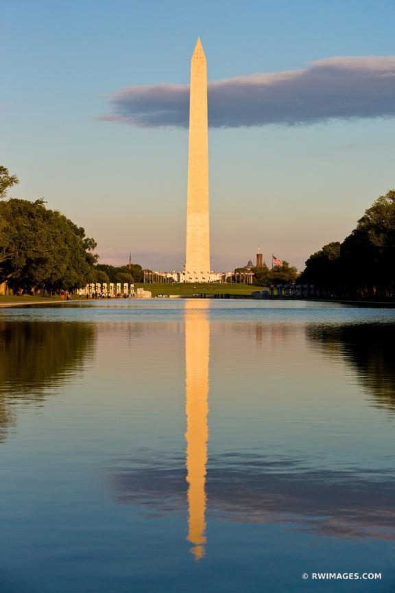 WASHINGTON MONUMENT REFLECTING POOL NATIONAL MALL WASHINGTON DC COLOR VERTICAL
