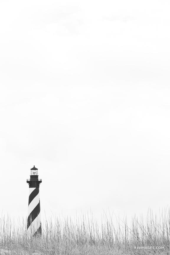 CAPE HATTERAS LIGHTHOUSE OUTER BANKS BLACK AND WHITE