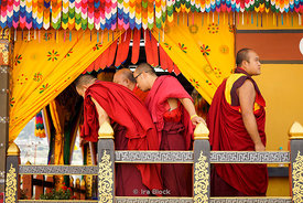 Monks at a blessing by the Chief Abbot of the Central Monastic Body of Bhutan in Paro, Bhutan.