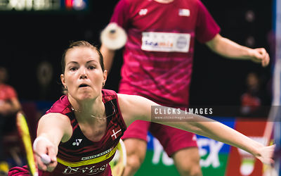 YONEX-SUNRISE Hong Kong Badminton Open Mixed Double Christinna Pedersen/Mathias Christiansen DEN v Liao Min Chun/Chen Hsiao Huan TWN at Hong Kong Coliseum on November 24, 2017. (Lampson Yip/Clicks Images)