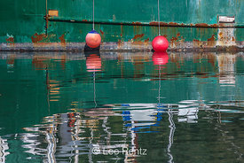 Reflected Green Boat Hull and Round Red Fenders in Newport, Oregon