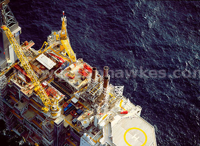 Aerial view of Oil Rig, Norway