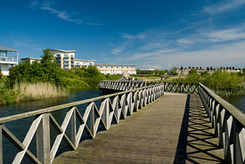 Walkway, Cardiff Bay Wetlands Nature Reserve, Cardiff, Wales.