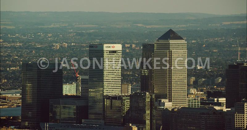 London Aerial Footage of Canary Wharf