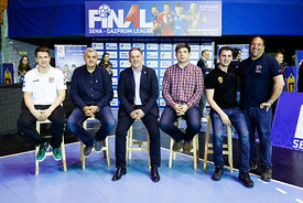 Simon Razgor, Bozidar Djurkovic, Sinisa Ostoic, Goran Antevski and Raul Gonzales during the Final Tournament - Final Four - SEHA - Gazprom league, Handball discussion in Brest, Belarus, 06.04.2017, Mandatory Credit ©SEHA/ Uros Hočevar