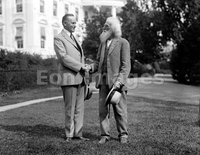 Ezra Meeker with Calvin Coolidge