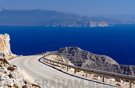 View looking towards Rhodes from the mountains of Chalki Island, Dodecanese Islands, Greece.