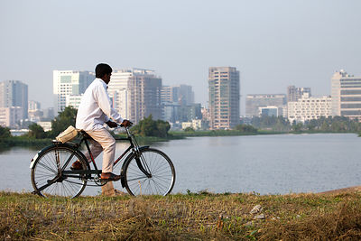 A man rides a bike past shallow lakes in the East Kolkata Wetlands, Kolkata, India. In the distance is the planned satellite city of Salt Lake City.