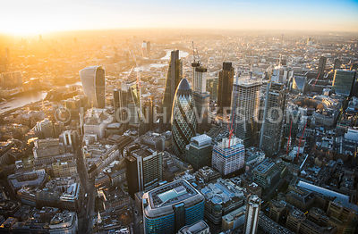 Aerial view of London, City of London skyline with Heron Tower , 30 St Mary's Axe and 20 Fenchurch Street