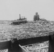 Floating wreckage near Texas City - typical scene for miles along the water front - Galveston disaster
