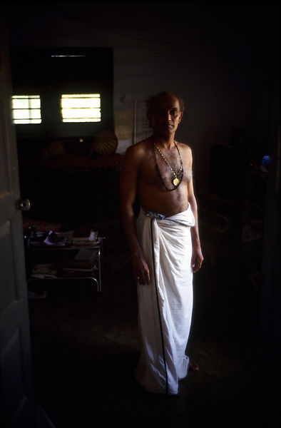 India - Kerala - A portrait of Professor Balasubramanian, a senior teacher of Kathakali