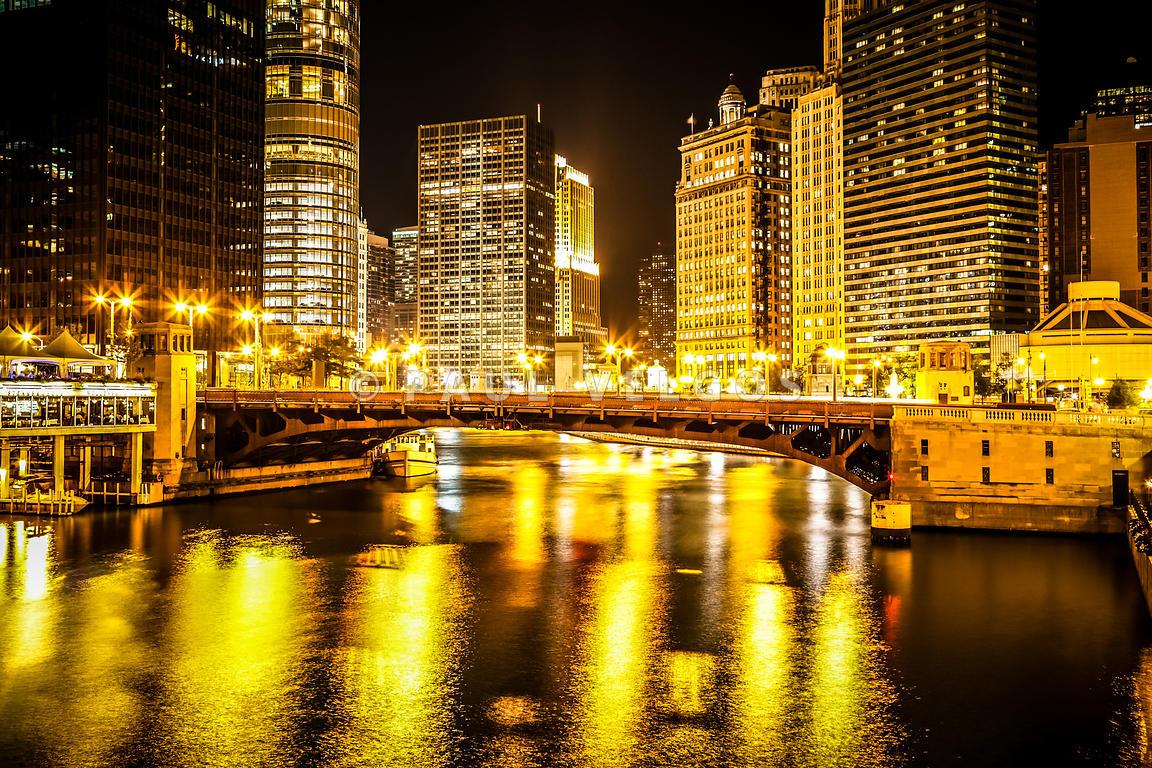 Image: Chicago River Skyline at Wabash Avenue Bridge Large Canvas ...