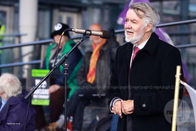 Paul Flynn MP: Flags, Politicians, No To Trident, Trident, nuclear, peace, CND, Protest, Demo