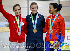 Women's Omnium Podium. Track Day 4, Toronto 2015 Pan Am Games, Milton Pan Am/Parapan Am Velodrome, Milton, On; July 19, 2015