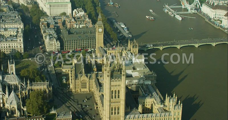 London Aerial Footage,  Houses of Parliament and Big Ben.