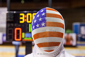 Fencing mask of USA fencing senior athlete.  The American flag was printed on the mask.